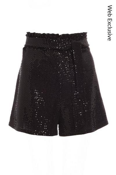 Black Sequin High Waist Tie Belt Shorts